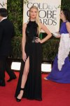 Rosie Huntington-Whiteley in a black corsted leather-accented Saint Laurent Paris gown