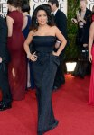 Salma Hayek in a black sparkling sequin bowed Gucci gown