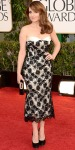 Tina Fey in a floral lace overlay L'Wren Scott tea-length dress with white lapels & black satin heels.