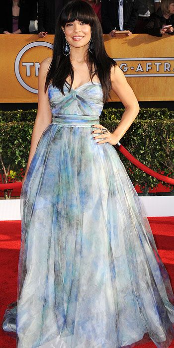 Zuleikha Robinson in a watercolor sweetheart ruched gown ... Zuleikha Robinson 2013