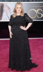 Adele in a black Jenny Packham three-quarter sleeve gown