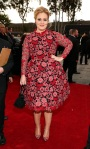 Adele in a red floral print long-sleeve lace dress by Valentino