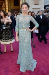 Alicia Vikander in a seafoam embellished three-quarter sleeve belted gown