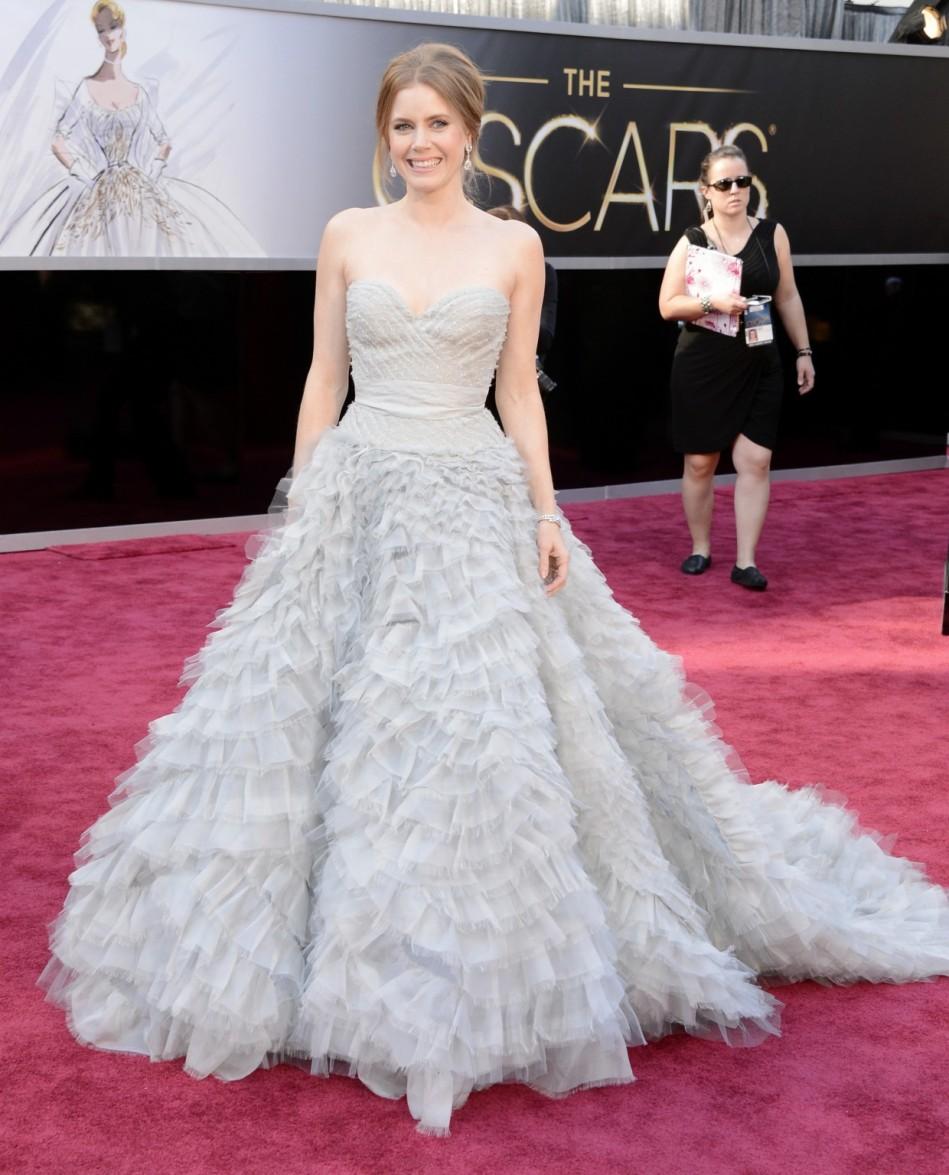 Amy Adams in a pastel sweetheart Oscar de la Renta ballgown | Style ...