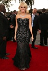 Carrie Underwood in a black embellished sweetheart Roberto Cavalli gown