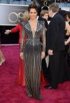 Halle Berry in a silver & black striped Versace long-sleeved gown