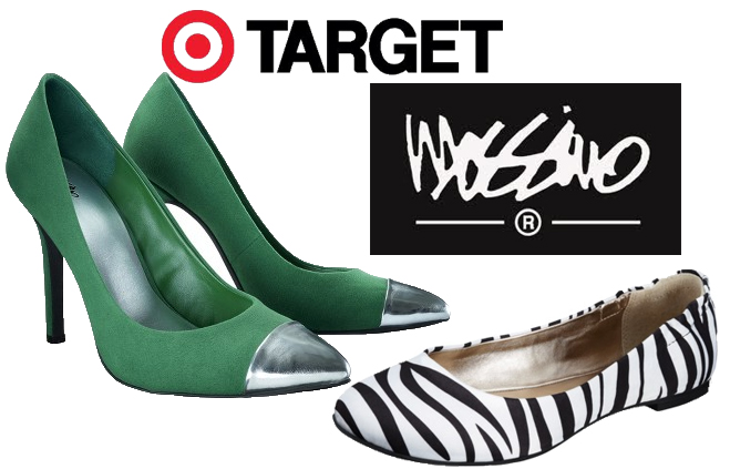 Target - Mossimo Viveca Blingy Heel $28.04 in Emerald, Mossimo Ona Ballet Flat $14.99 in zebra.