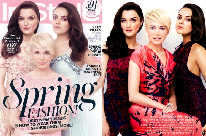 Michelle Williams, Rachel Weisz, & Mila Kunis for InStyle March 2013