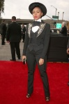 Janelle Monae in a black embellished three-piece tuxedo