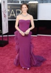 Jennifer Garner in a berry strapless Gucci gown