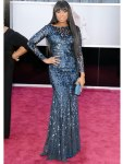 Jennifer Hudson in a blue embellished Roberto Cavalli long-sleeved gown