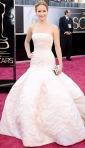 Jennifer Lawrence in a cream Christian Dior Haute Couture gown