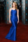 Jessica Chastain in a blue structural Roland Mouret gown
