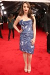 Kat Dennings in a blue printed Vivienne Westwood dress