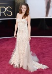 Kristen Stewart in a sweetheart lace column gown by Naeem Khan