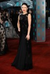 Olga Kurylenko in a black & chiffon gown