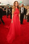 Rihanna in a red custom-made Azzedine Alaia gown
