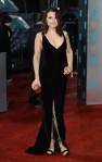 Samantha Barks in a black velvet Celia Kritharioti gown