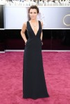 Samantha Barks in a black velvet deep-v gown by Valentino