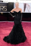 Tabatha Coffey in a black feathered Mark Zunino gown