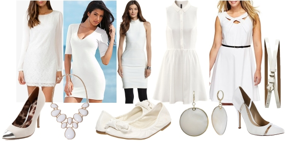 white dresses & accessories