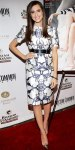 Allison Williams in a Prabal Gurung printed silk top & pencil skirt with cap-toe Schultz stilettos.