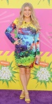 Fergie in a colorful Mary Katrantzou dress with neon ankle strap sandals