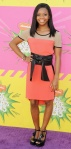 Gabby Douglas in an orange colorblocked dress