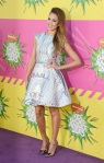 Jessica Alba in a printed Mary Katrantzou dress with pointed toe bowed heels