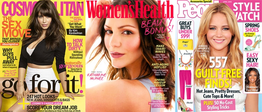 Kim Kardashian for Cosmopolitan, Katharine McPhee for Women's Health, & Jennifer Lawrence for People Style Watch April 2013.