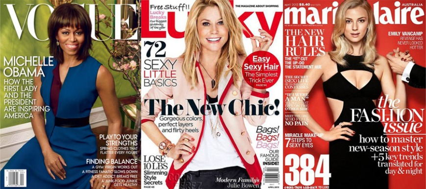 Michelle Obama for Vogue, Julie Bowen for Lucky, & Emily VanCamp for Marie Claire Australia April 2013.