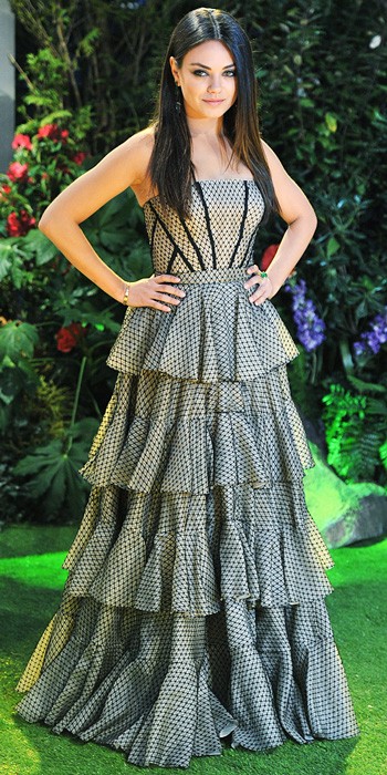 Mila Kunis in a strapless tiered Alexander McQueen ball gown | Style ...