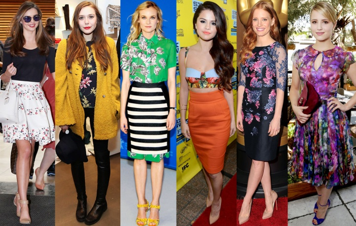 Miranda Kerr, Elizabeth Olsen, Diane Kruger, Selena Gomez, Jessica Chastain, & Dianna Agron.