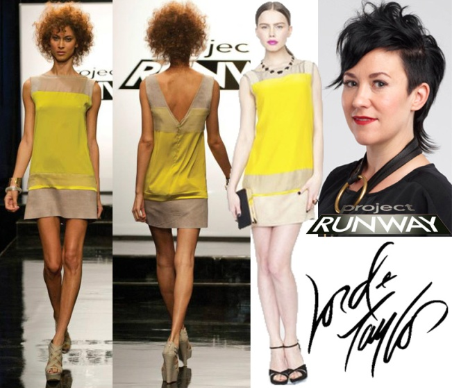 Project Runway. Lord & Taylor - JS Collections chartreuse shift dress $259.00. Michelle Franklin.
