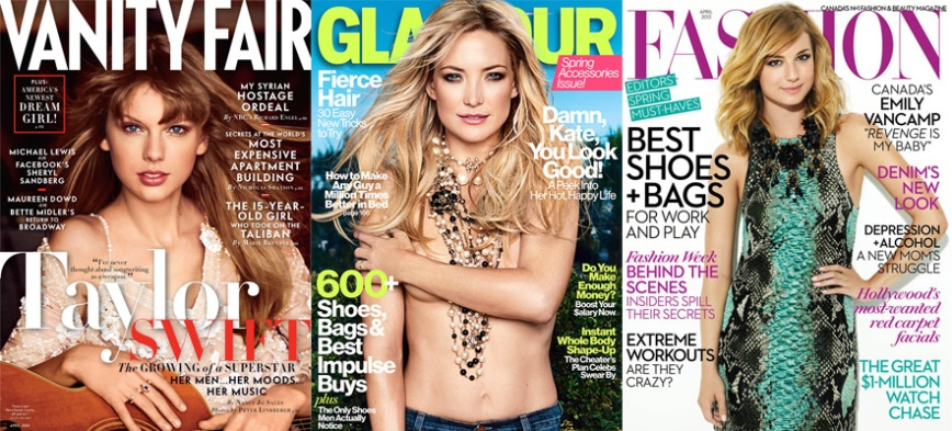 Taylor Swift for Vanity Fair, Kate Hudson for Glamour, Emily VanCamp for Fashion April 2013.