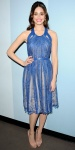 Emmy Rossum in a blue lace Catherine Deane dress with gold jewelry & nude peep toe pumps.