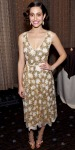 Emmy Rossum in a glittering sequin Tory Burch dress with gold sandals & a retro updo.