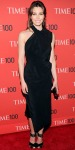 Jessica Biel in a black sculpted dress with ankle strap peep toe heels & embellished minaudiere.