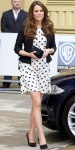 Kate Middleton in a black & white polka dot Topshop dress with a Ralph Lauren jacket.