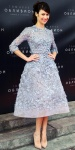 Olga Kurylenko in a lilac Elie Saab Haute Couture floral embroidered dress with nude patent leather stilettos at the Moscow premiere of Oblivion.