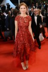 Ahna O'Reilly in a red lace overlay Monique Lhuillier outfit.