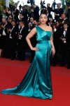 Aishwarya Rai in an aqua one-shoulder Gucci gown.