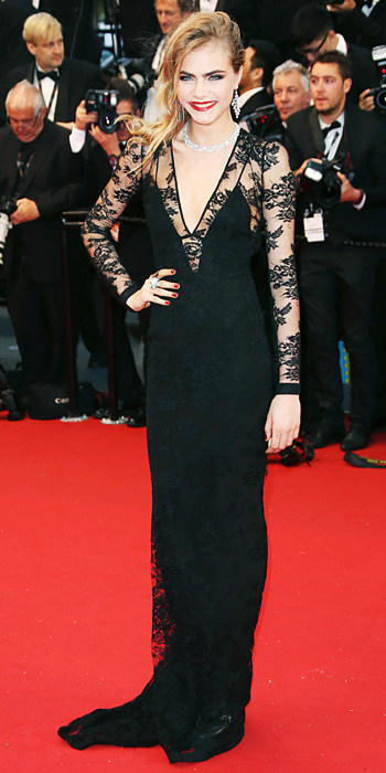 Cara Delevingne In A Black Lace Burberry Long Sleeved Dress With