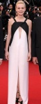 Carey Mulligan in a black & white open front Vionnet slitted dress with black satin peep toe ankle strap heels.