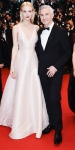 Carey Mulligan in a blush matte satin duchessa Dior Haute Couture gown with earrings by Tiffany & Co with Baz Luhrmann.