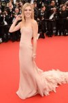 Claire Julien in a blush strapless Emilio Pucci ruffled train gown.