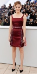 Emma Watson in a burgundy Christopher Kane dress with heels by Gianvito Rossi heels.