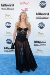 Jennifer Morrison in a black sheer bustier dress by Kristian Aadnevik.