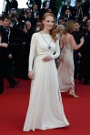 Jessica Chastain in a white long-sleeved Versace gown.