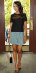 Kerry Washington in a leopard blouse by Isabel Marant, a Marni pleated skirt, jewelry by Jennifer Fisher, & pointy toe animal inspired pumps.